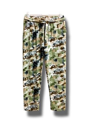 By Leyal For Kids Desenli Kadife Cepli Bağcıklı Pantolon-483 Yeşil